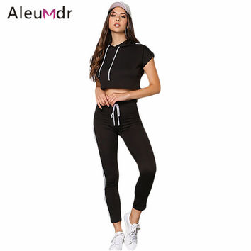 Casual Style Sport Suit Summer Women 2016 White/Black Double Stripe Hoodie Crop Top Jogger Pant Set LC62014 Survetement Femme