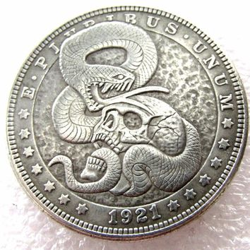 US Hobo 1921 Morgan Dollar Skull Zombie Skeleton With Snake Carved Creative Copy Coins