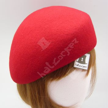 FASHION Wool Felt Women Soft Beret Pillbox Hat Ladies Cadet Cloche | 57cm | Red