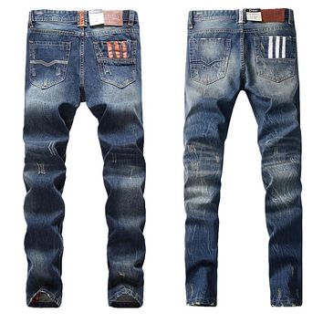 Famous Dsel Brand Blue Jeans Ripped Pants With Logo Orange Buttons Jeans 777 White Buttons Jeans 9003 Lines Designer Jeans Men