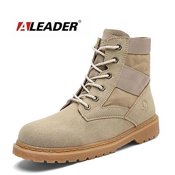 ALEADER Casual Mens Combat Boots Outdoor Suede Leather Desert Boots Men Fashion Timer Boots Military Lace Up Men Work Shoes Army