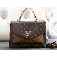 LV Selling Women's Collision Printing One Shoulder Pack Brown