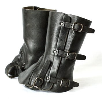 SWISS ARMY GAITERS 1956, Swiss Military Black Saddle Leather Gaiters, Made in Switzerland, Swiss Made Leather Boot Gaiters, Leather Boots
