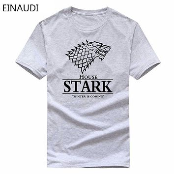 Game of Thrones Wolf Stark T-Shirt Men's Game of Thrones T Shirt Summer High Quality Male Casual Tee Shirts Tops
