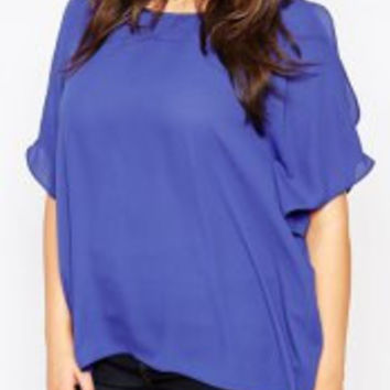 Blue Short Sleeve Cut Out Chiffon Plus Size Blouse