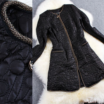 Black Chain Embroidery Long Sleeves Zipper Coat