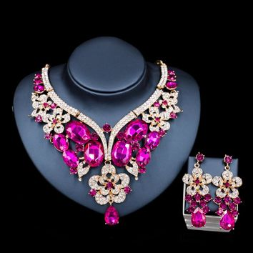 Lan palace  wedding jewelry sets Glass Rhinestone for bridal gold color necklace and earrings  six colors  free shipping