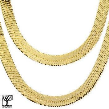 "Jewelry Kay style Men's Bling Gold Toned Heavy 14 mm  24"" / 30"" Double Herringbone Chain Necklace"