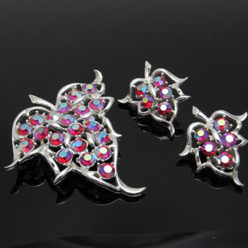 Large Red Rhinestone Leaf Brooch Pendant Earrings Set Vintage Coventry Jewelry S7514
