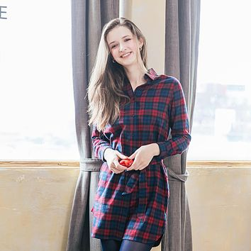 Woman Navy/Red plaid shirt dress