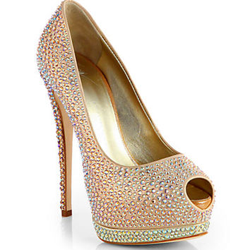 Giuseppe Zanotti - Jeweled Satin Platform Pumps