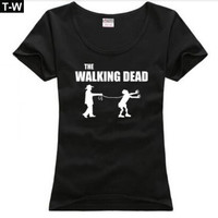 TUSDTW013 The Walking Dead American fashion t shirt women summer dress girls novelty printed tshirt big size women's top tees,