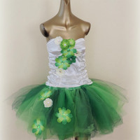 Adult tutu dress,tinker bell tutu, fair costume, green tutu skirt, halloween costume, adult tinker bell,