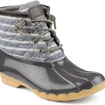 Sperry Top-Sider Saltwater Duck Boot GraphiteStripe, Size 8M  Women's Shoes