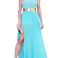 Blue Halter Sleeveless Pleated Chiffon Dress
