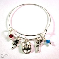 Cowgirl Guns and Roses Bangle Bracelet with Charms and Swarovski Crystals