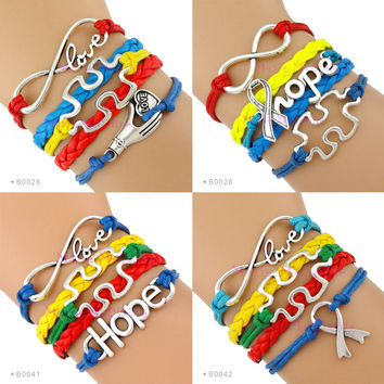 (10 PCS/Lot) Autism Speaks Bracelet Infinity Love Autism Awareness Jigsaw Ribbon Puzzle Pieces Hope Red Yellow Blue Green Custom