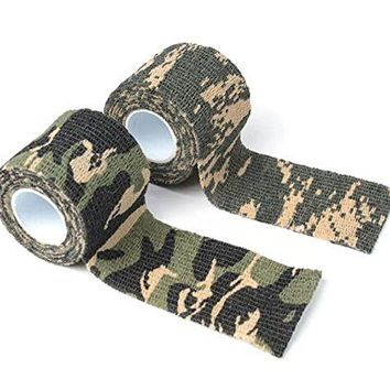 Camo Tape Hunting Stealth Gun And Bow Camouflage Cloth Tape Flexible 14.5 Feet Per Roll - 2 Rolls