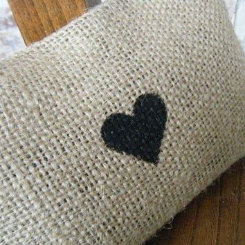 Burlap Heart Pillow by RamonaOwenDesigns on Etsy