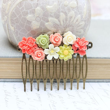 Flower Collage Comb Floral Hair Accessories Fresh Bright Coral Green Cream Pink Peach Spring Wedding Bridal Brass Metal Comb White Daisy