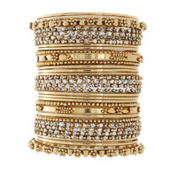 Stackable Bracelet Set  Color-plated Metal Rhinestone 34-piece  Blacktone & Goldtone