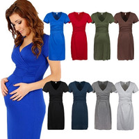 Maternity Women's Dress Tunic Short Sleeve V-Neck Stretchy Bodycon Pregnant Jersey Dresses Plus Size Vestidos sexy Dresses = 1956707780