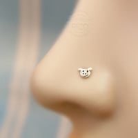 Nose Stud Tiny cute Piggy sterling silver 20 gauge, Customize shape nose stud, nose rings, nose hoops, screw nose stud, bone end nose stud
