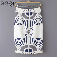 SCQP White Geometric Skirt Women Office Summer Style Casual High Waist Pencil Skirt Autumn Spring Cotton Womens Skirts 2016