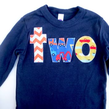 lowercase two Long Sleeve Birthday Shirt  in Navy with orange chevron, construction truck, pickup trucks for 2 year old