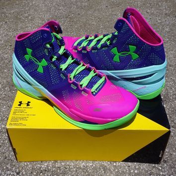 Men Under Armour UA Curry 2 Two Northern Lights MVP Basketball Shoes 1259007-652