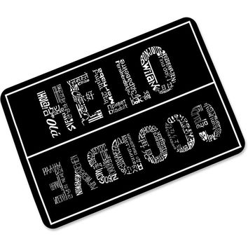 Free Shipping HELLO GOODBYE Personality Rubber Foyer Non-slip Absorbent Door Mat Ultra-thin No Card Door Mats