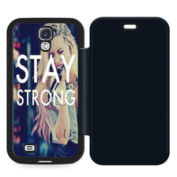 Stay Strong Demi Lovato Leather Wallet Flip Case Samsung Galaxy S4