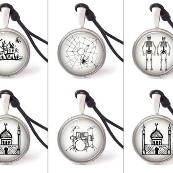 Vietguild's Handrawn Black And White Art Necklace Pendants Pewter Silver