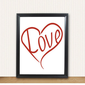 Love Print, Heart Art, Inspirational, Unframed, Motivational, Wall Decor, Poster, Gift, Housewarming, Typography, Red, Blue, Gold, Black
