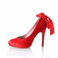 Brilliant Cloth Upper Wedding/Party Stiletto Shoes with Red Bows