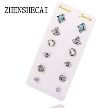 6Pcs/Set New Fashion Silver Color Ball Crystal Stud Earrings For Women Vintage Leaf Earring Set Boho Punk earring
