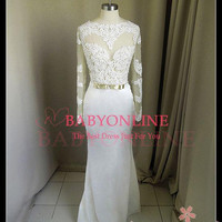 2014 long sleeve white lace bridemaid gown long elegant prom dresses custom made all size high quality fast shipping