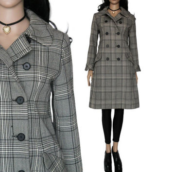 60's Plaid Coat Dress Black and White Double Breasted Swing 90s Preppy Hipster Clueless Clothing Womens Size Small
