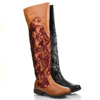 Montage58 Equestrian Abstract Fabric Print Low Heel Knee High Boots