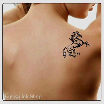 Temporary Tattoo Horse Fake Tattoo Thin Durable