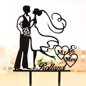Acrylic Bride Groom Party Favors Wedding Supplies Cake Toppers Mr & Mrs Wedding Cake Topper = 1929969668
