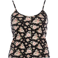River Island Womens Black floral fitted V-neck ribbed cami