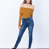 One Slit High Waisted Jeans