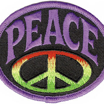 Peace Sign Iron-On Patch Oval Purple Letters