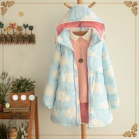 Sweet printed clouds hooded cotton coat