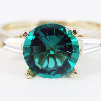 Emerald Baguette Accented 14k Yellow Gold Ring, May Birthstone Ring, 14k Yellow Gold Ring, Solid Yellow Gold Ring, Emerald Engagement Ring