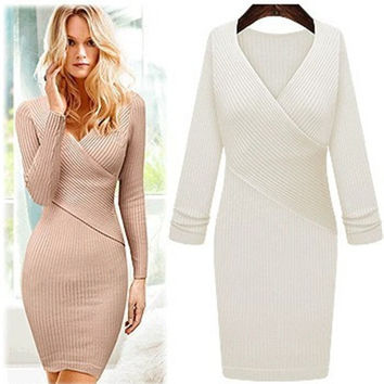 Cross V-neck knit dress