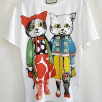 """""""Gucci""""  Woman Fashion Casual Short-Sleeved Cat Printed Round Neck   Top"""