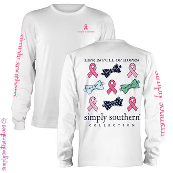 Simply Southern Hope Breast Cancer Anchor Bow Girlie Bright Long Sleeve T Shirt