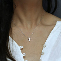 Tiny Silver Cross Necklace - Minimal Cross Jewelry - Religion Necklace - Perfect for Layering - Gold Cross Necklace - Hotmixcold jewelry